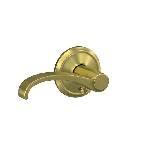 Custom Whitney Lever with Alden Trim Hall-Closet and Bed-Bath Lock - Satin Brass