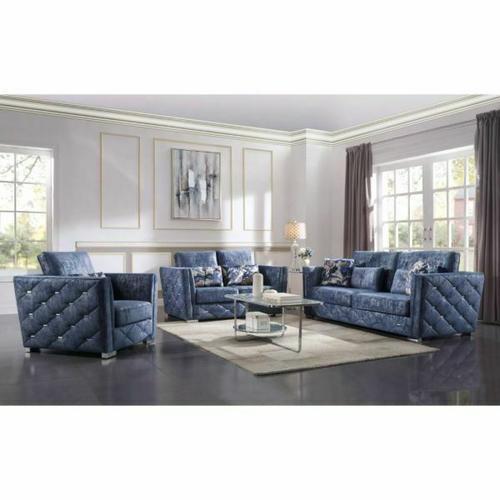 56025 In By Acme Furniture Inc Carrollton Tx Emilia Sofa W 4 Pillows Vintage Fabric Frame Wood Pine Mdf Foam D 2 Tone Blue - Simple Living Emilia Blue Sofa Table