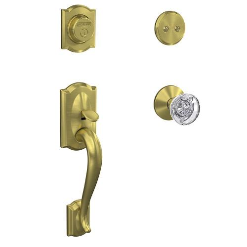 Custom Camelot Inactive Handleset with Hobson Glass Knob and Kinsler Trim - Satin Brass
