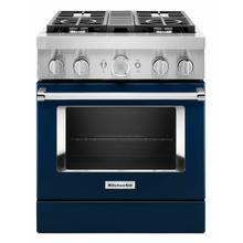 View Product - KitchenAid® 30'' Smart Commercial-Style Dual Fuel Range with 4 Burners - Ink Blue