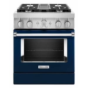 KitchenAidKitchenAid® 30'' Smart Commercial-Style Dual Fuel Range with 4 Burners - Ink Blue