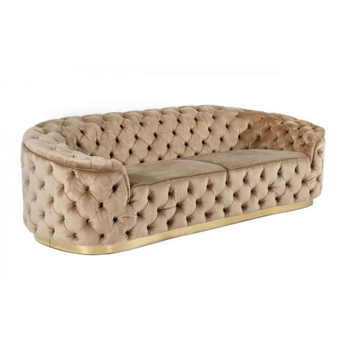 Gallery - Divani Casa Murdoch - Glam Beige and Gold Fabric Sofa