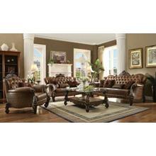 ACME Versailles Sofa w/5 Pillows - 52100 - 2-Tone Light Brown PU & Cherry Oak