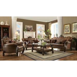 Acme Furniture Inc - ACME Versailles Sofa w/5 Pillows - 52100 - 2-Tone Light Brown PU & Cherry Oak