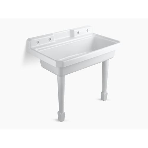 """White 48"""" X 28"""" X 41-11/16"""" Top-mount or Wall-mount Utility Sink With 2 Faucet Holes On Left and Right Backwalls"""