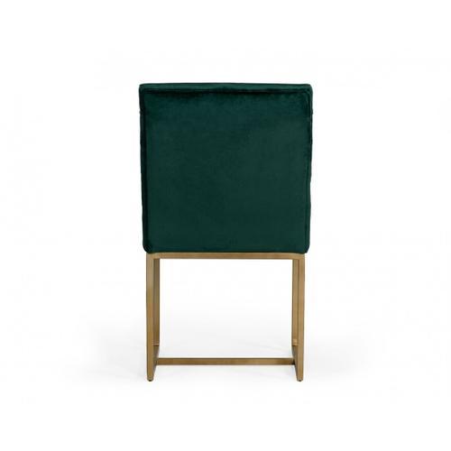 VIG Furniture - Modrest Barker - Modern Green & Brush Gold Dining Chair (Set of 2)