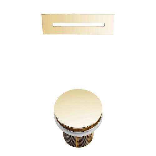 """Celeste 67"""" Acrylic Tub with Integral Drain and Overflow - Polished Brass Drain and Overflow"""