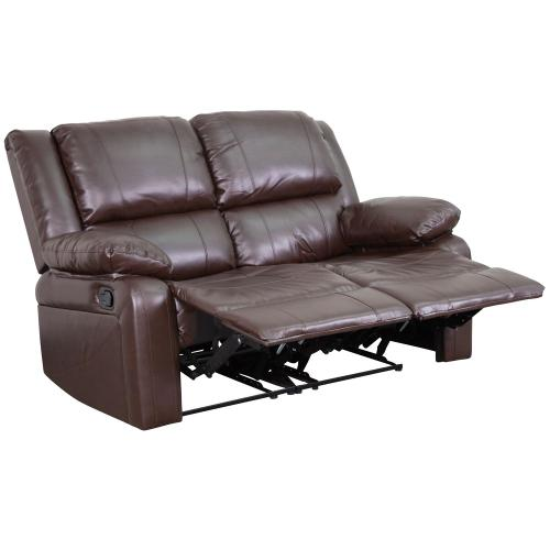 Brown Leather Loveseat with Two Built-In Recliners