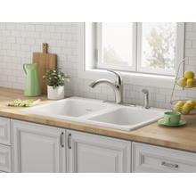 See Details - Quince 33x22-inch Double Bowl Cast Iron Kitchen Sink - 4 Hole  American Standard - Brilliant White