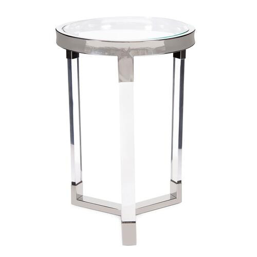 Howard Elliott - Round Stainless Steel & Acrylic Side Table