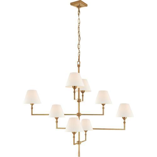 Alexa Hampton Jane 8 Light 48 inch Hand-Rubbed Antique Brass Offset Chandelier Ceiling Light, Large