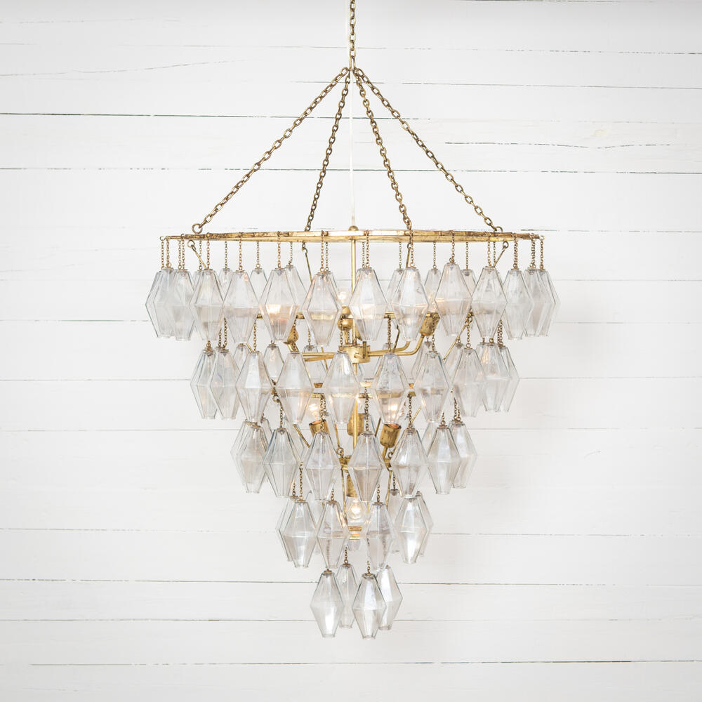 Gold Leaf Finish Adeline Large Round Chandelier