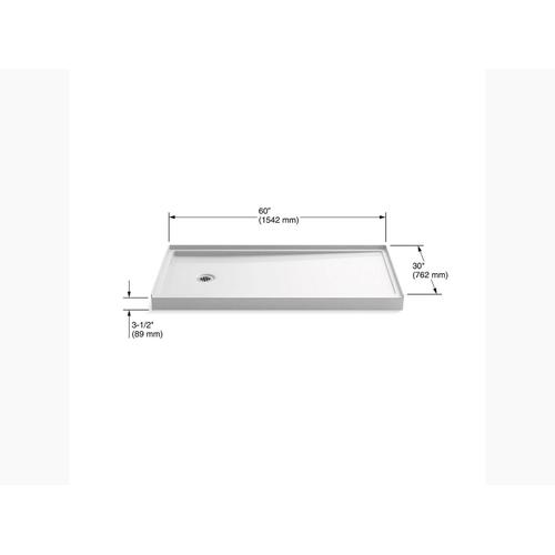 "White 60"" X 30"" Single-threshold Shower Base With Left-hand Drain"
