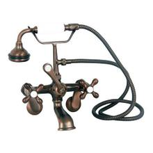Clawfoot Tub Filler - Elephant Spout, Hand Held Shower, Swivel Mounts - Cross Handles / Oil Rubbed Bronze