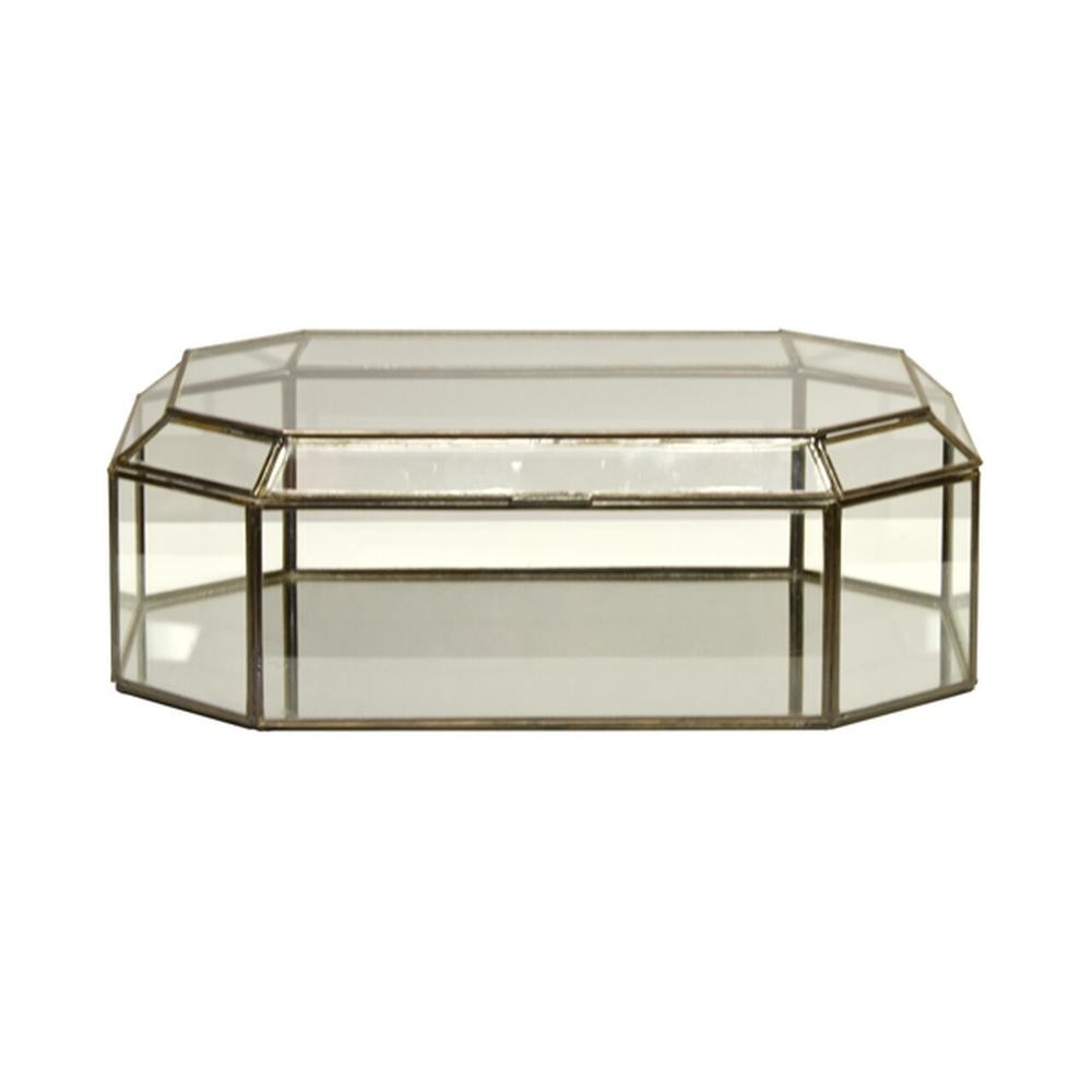 Create A Stunning Display With This Hinged, Octagonal Clear Glass Box With Antique Brass Border. Perfect When Displayed Solo In A Group With Our Different Sized Glass Boxes as A Showcase for Jewelry or Other Collectibles.