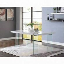 ACME Noland - Dining Table - 72185 - White High Gloss & Clear Glass