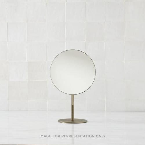 Freestanding Magnification Mirror In Chrome Features 5x Magnification and Tilts for Perfect Positioning.