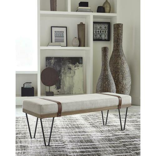 See Details - Beige and Black Bench