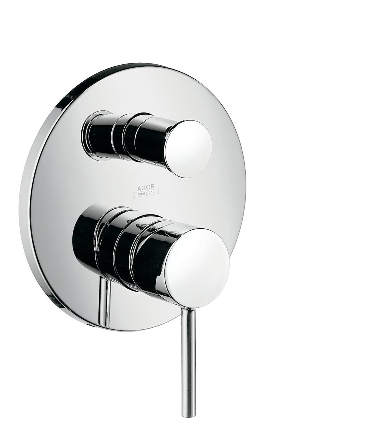 Chrome Single lever bath mixer for concealed installation with pin handle and integrated security combination according to EN1717