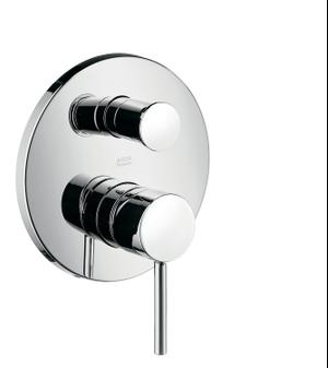 Chrome Single lever bath mixer for concealed installation with pin handle Product Image