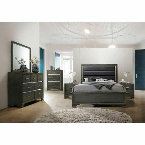 ACME Carine II Eastern King Bed - 26257EK - Fabric & Gray