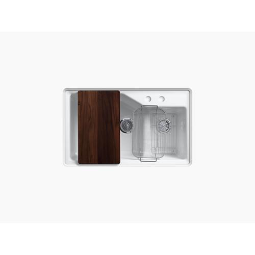 """Black Black 33"""" X 21-1/8"""" X 9-3/4"""" Smart Divide Undermount Large/small Double-bowl Workstation Kitchen Sink With 2 Faucet Holes"""