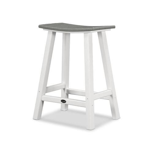"White & Slate Grey Contempo 24"" Saddle Bar Stool"