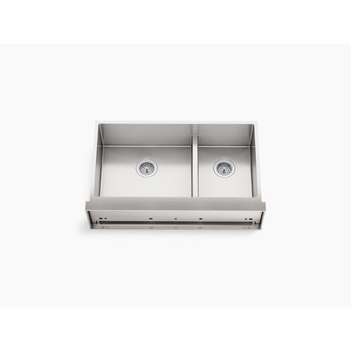 "35-1/2"" X 21"" Undermount Double-bowl Large/medium Farmhouse Kitchen Sink"