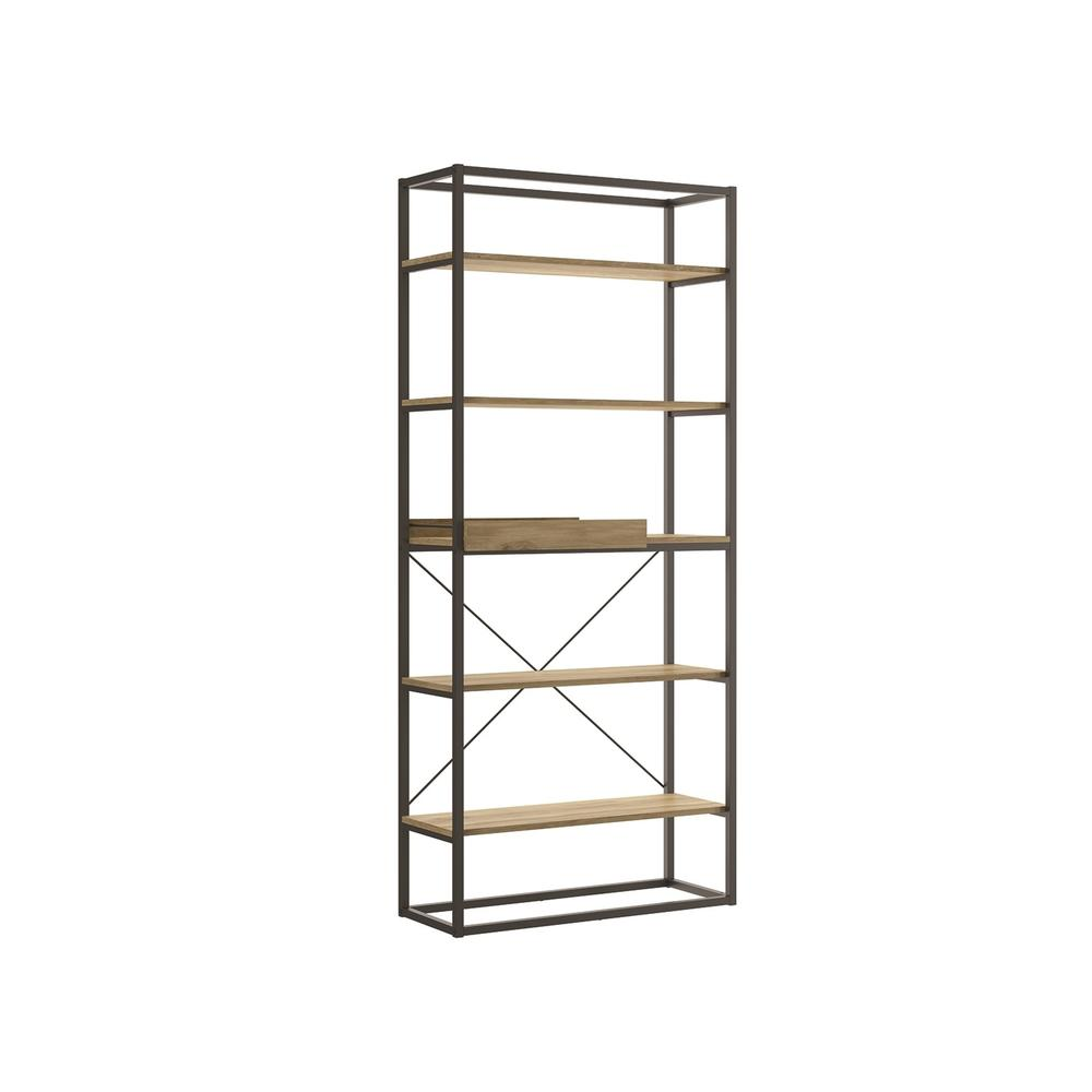 The Noa Bookcase Part Of Our Kd Collection In Oak Melamine With Black Painted Metal Frame And Removable Tray.