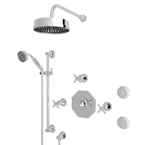 Polished Chrome Perrin & Rowe Deco Thermostatic Shower Package with Deco Cross Handle