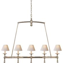 E. F. Chapman Classic 5 Light 45 inch Polished Nickel Linear Pendant Ceiling Light