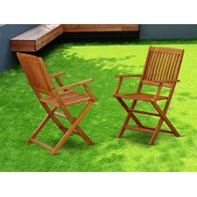 Solid Acacia wood Balcony Folding Arm Chair -Set of two