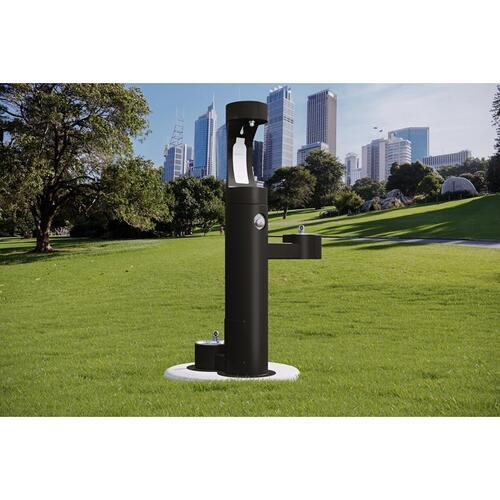 Elkay - Elkay Outdoor EZH2O Bottle Filling Station Bi-Level, Pedestal with Pet Station Non-Filtered Non-Refrigerated Black