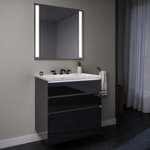 """Curated Cartesian 24"""" X 7-1/2"""" X 21"""" and 24"""" X 15"""" X 21"""" Three Drawer Vanity In Tinted Gray Mirror Glass With Tip Out Drawer, Slow-close Plumbing Drawer, Full Drawer, Night Light and Engineered Stone 25"""" Vanity Top In Silestone Lyra Product Image"""