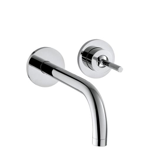 Brushed Bronze Single lever basin mixer for concealed installation wall-mounted with spout 225 mm and escutcheons