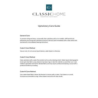 Upholstery Care Instructions_Classic Home