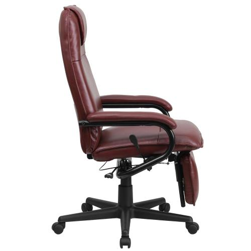 High Back Burgundy Leather Executive Reclining Swivel Chair with Arms