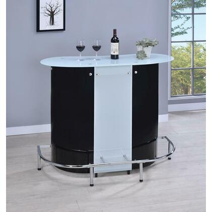 See Details - Contemporary Black and Chrome Bar Unit With Frosted Glass Top