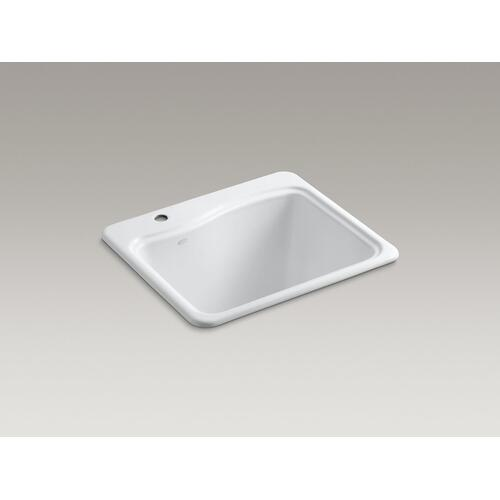 "White 25"" X 22' X 14-15/16"" Top-mount Utility Sink With Single Faucet Hole On Deck On Left Side"