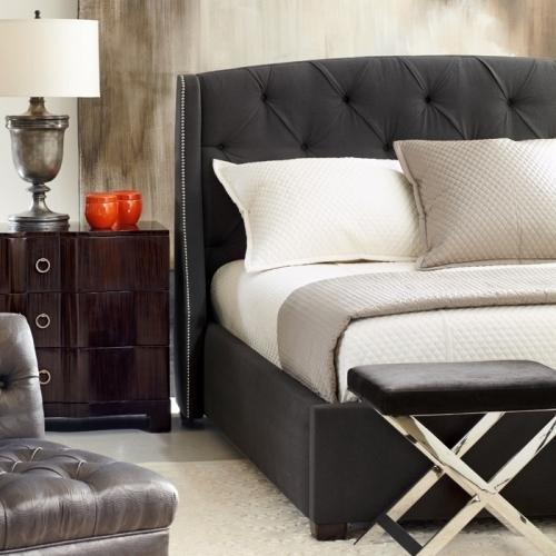 """Bernhardt Interiors - King-Sized Jordan Button-Tufted Wing Bed (54-1/8"""" H) in Espresso"""