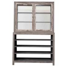 """See Details - 51""""W x 20""""D x 79""""H Reclaimed Wood & Tempered Glass 2-Piece 2-Sided Cabinet w/ 6 Shelves & 4 Doors"""