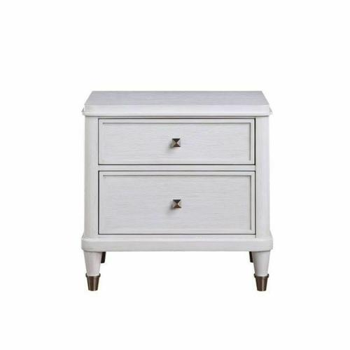 ACME Celestia Nightstand - 22123 - Coastal - Wood (Solid Poplar), Wood Veneer (Oak), Poly-Resin, MDF, Ply, PB - Off White