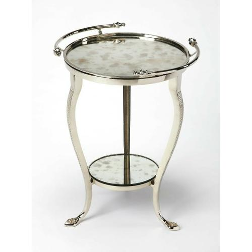 Use this glamorous end table in your living room, as it evokes 1920s style art nouveau luxury with Antique Mirrored glass, chevron motif on the gleaming aluminum legs, the table boasts handles for transportability and is great for small spaces. Features a lower shelf and an accented foot.