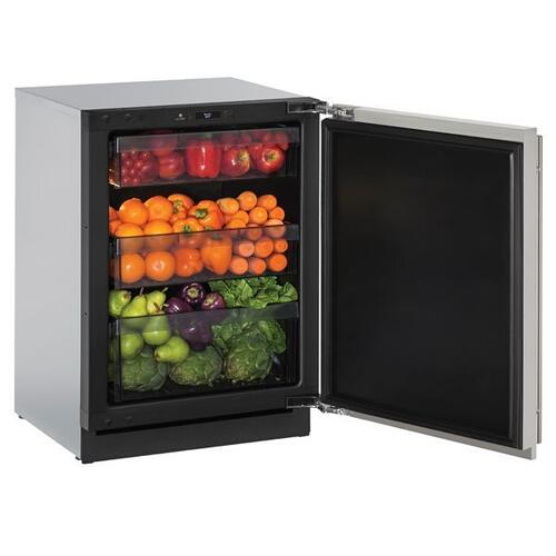 """3024r 24"""" Refrigerator With Stainless Solid Finish and Field Reversible Door Swing (115 V/60 Hz Volts /60 Hz Hz)"""