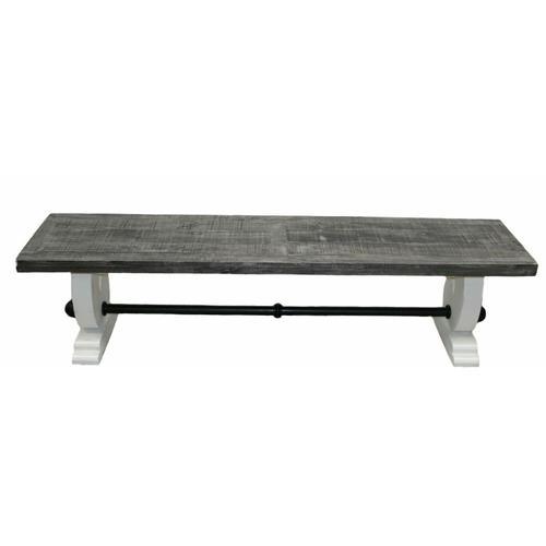 Million Dollar Rustic - White W/ Gray Top Savannah 6' Bench
