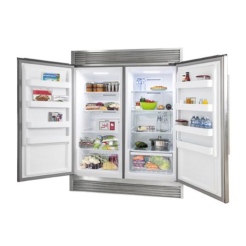 """Rizzuto - Refrigerator and Freezer (two in one) 60"""" Wide with 27.6 cu.ft. Total Storage w/ decorative grill allowing ventilation"""