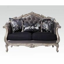ACME Chantelle Loveseat w/3 Pillows - 51541 - Silver Gray Silk-Like Fabric & Antique Platinum