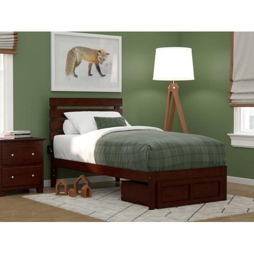 Atlantic Furniture - Oxford Twin Bed with Foot Drawer and USB Turbo Charger in Walnut