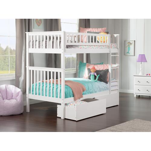 Atlantic Furniture - Woodland Bunk Bed Twin over Twin with Urban Bed Drawers in White