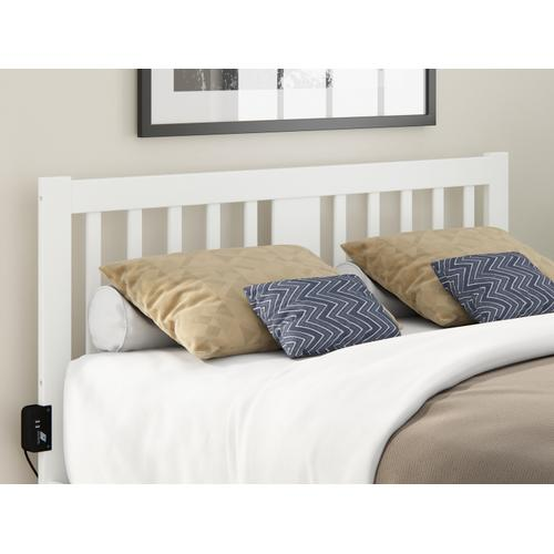 Tahoe Queen Headboard with USB Turbo Charger in White